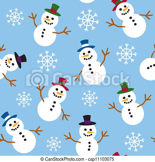 Seamless Snowmen and Snow - csp11103075