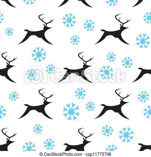 Seamless Snowy Reindeers - csp11773798