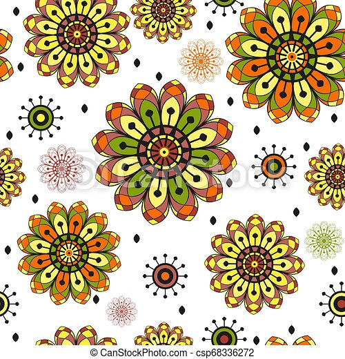 Seamless spring pattern with vintage doodle flowers - csp68336272