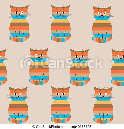 Seamless striped pattern with cute cats - csp40368706