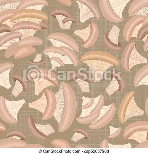 Textura retro sin costura con hongos de ostra para tu diseño - csp52687968
