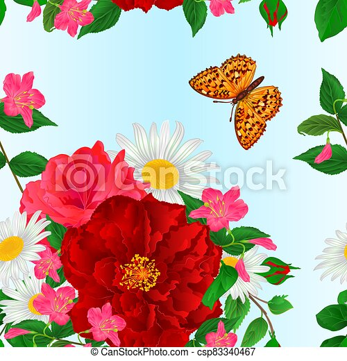 Seamless texture bouquet  red and pink roses and daisy and butterfly  watercolor vector.eps - csp83340467