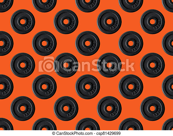 Seamless texture dumbbell sport health vintage decorative background, repeat tiles, round design template. Sample circles - csp81429699
