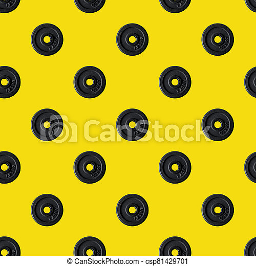 Seamless texture dumbbell sport health vintage decorative background, repeat tiles, round design template. Sample circles - csp81429701