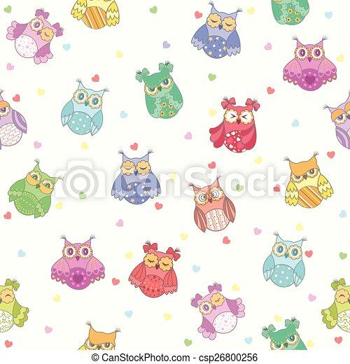 Seamless texture of beautiful owls - csp26800256