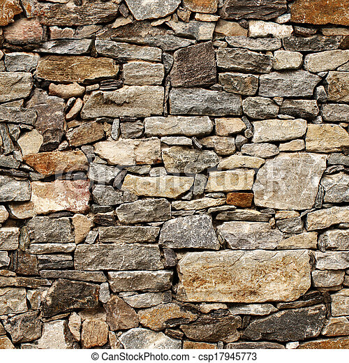 Seamless texture of medieval wall of stone blocks - csp17945773