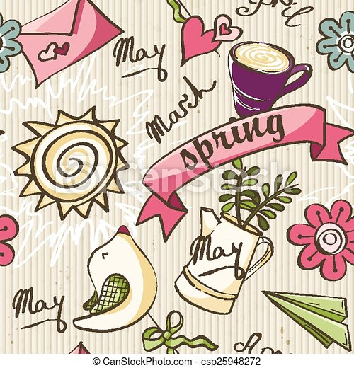 Seamless texture - the color of spring doodles. - csp25948272