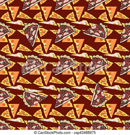 Seamless texture. Vector color image of a pizza - csp43488975