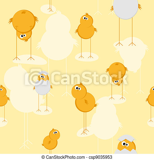 Seamless texture with a chick - csp9035953