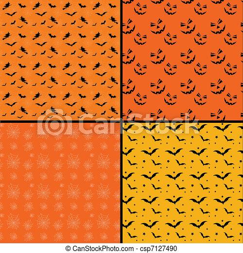 Seamless tile Halloween backgrounds - csp7127490