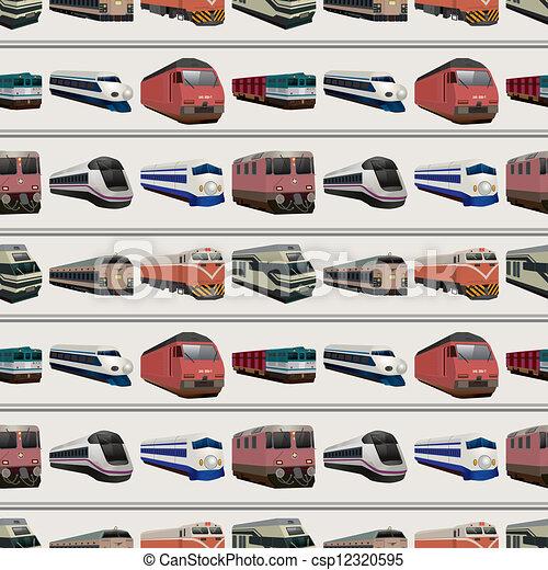 seamless train pattern - csp12320595
