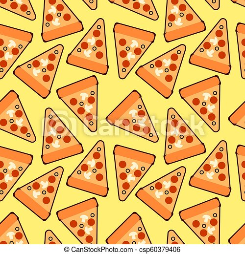 Seamless Trendy Pizza Slices Pattern Cute Vector Pizza For Fabric