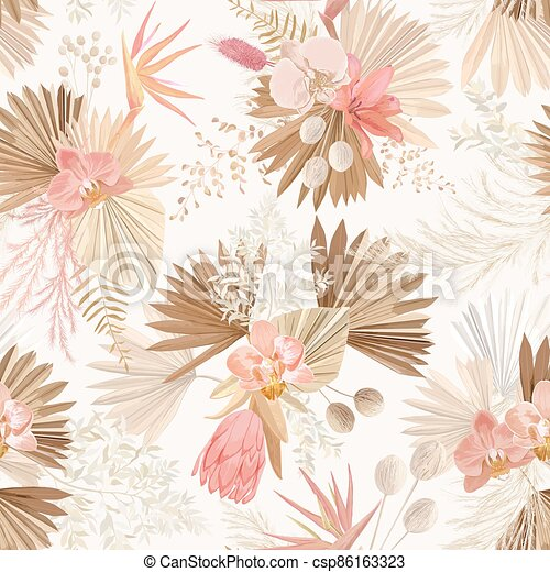Seamless tropic floral pattern, pastel dry palm leaves, watercolor boho tropical flower, orchid, protea - csp86163323