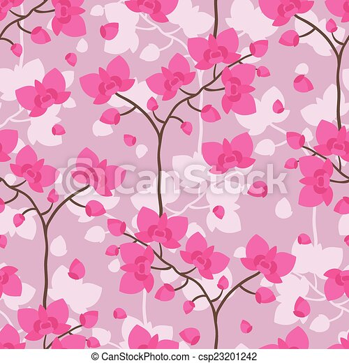 Seamless tropical pattern with stylized orchid flowers. - csp23201242