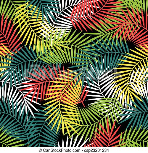 Seamless tropical pattern with stylized coconut palm leaves. - csp23201234