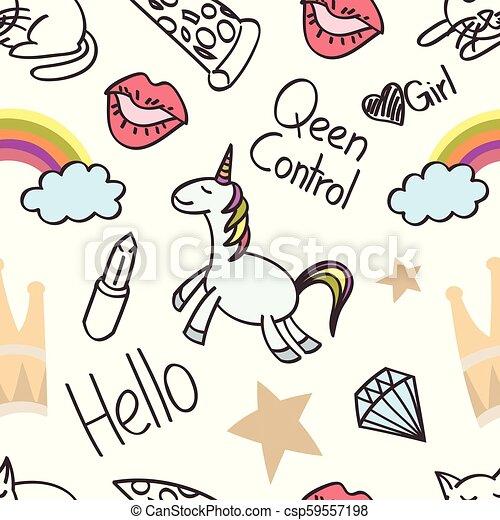 Seamless unicorn cartoon, wallpaper, doodle, art - csp59557198