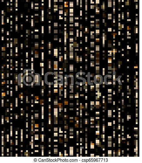 Seamless unique gold rain bokeh on black background. Glitter threads of curtain backdrop. Holiday garland lights or fashion strass drops for carnival, Christmas, New Year decoration. EPS 10 - csp65967713