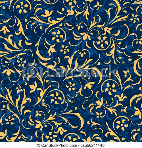 Seamless vector background. Baroque pattern. - csp56241146