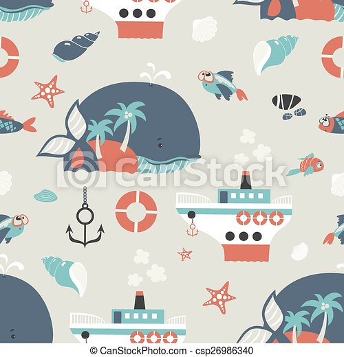 Seamless vector background with sea objects  - csp26986340