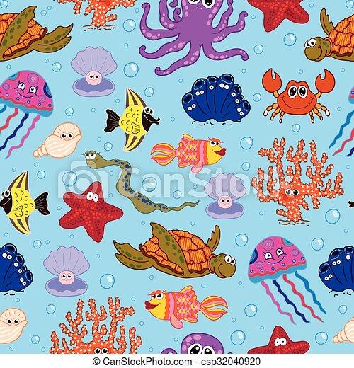 Seamless vector background with sea animals.. - csp32040920