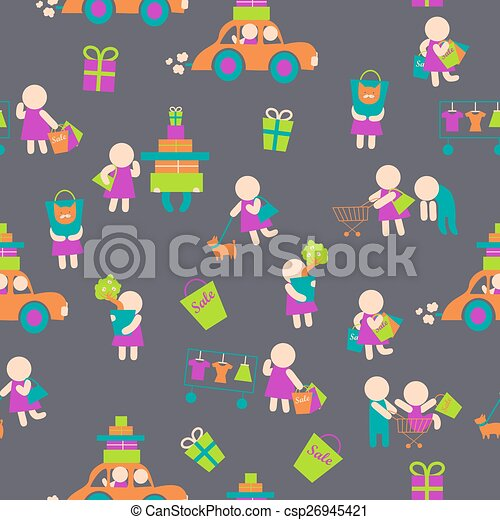 Seamless vector background,shopping people - csp26945421