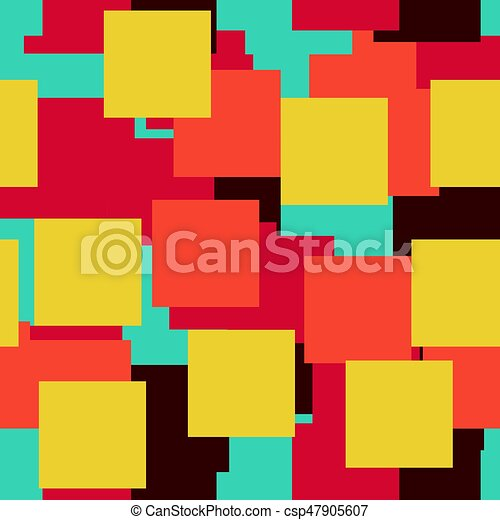 Seamless Vector Colorful Bright Pattern Paper Squares Of Five Colors Lying On Each Other