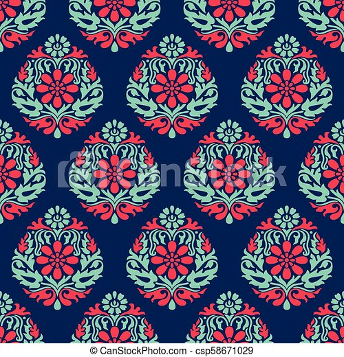 Seamless vector damask wallpaper - csp58671029