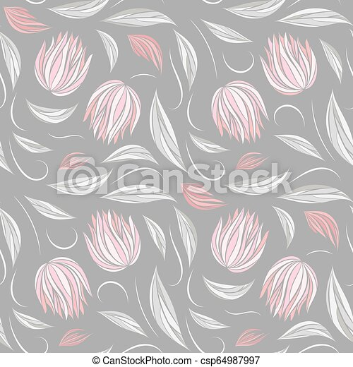 Seamless Vector Floral Pattern With Abstract Flowers And Leaves In Pastel Colors On Gray Background