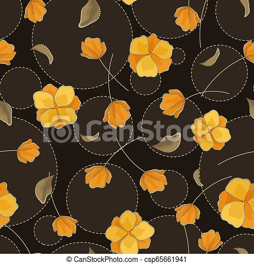 Seamless Vector Floral Pattern With Abstract Flowers In Yellow And Black Colors Polka Dot Background With Embroidery And Rhinestone Imitation