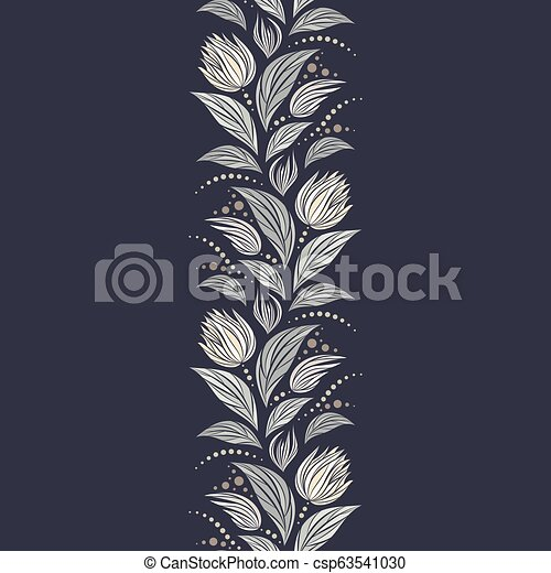 Seamless vector floral pattern with abstract mosaic flowers in monochrome gray colors on dark background. Endless vertical border - csp63541030