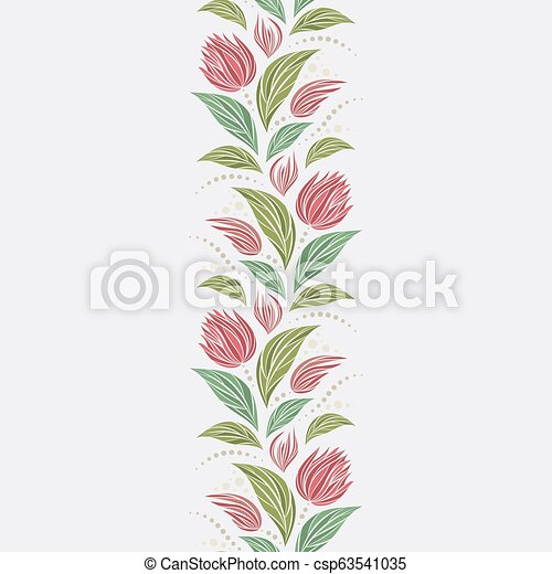 Seamless vector floral pattern with abstract mosaic flowers in green and pink colors on light background. Endless vertical border - csp63541035