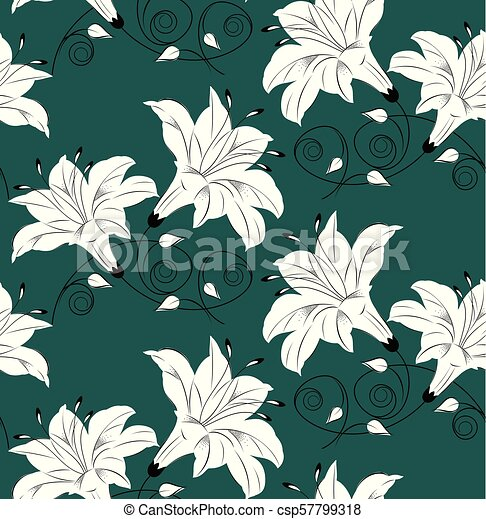 Seamless vector floral wallpaper - csp57799318