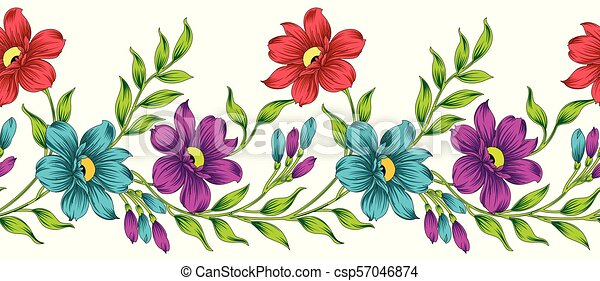 Seamless vector flower border - csp57046874