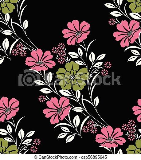 Seamless vector flower pattern - csp56895645