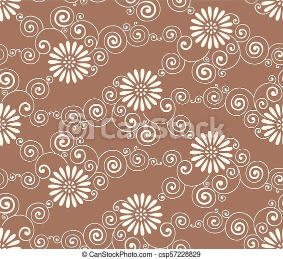 Seamless vector flower pattern - csp57228829