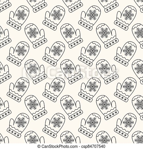 Seamless vector geometric christmas pattern with mittens in monochrome. Winter retro background of gloves with snowflakes for textile, decoration, invitation, fabric - csp84707540