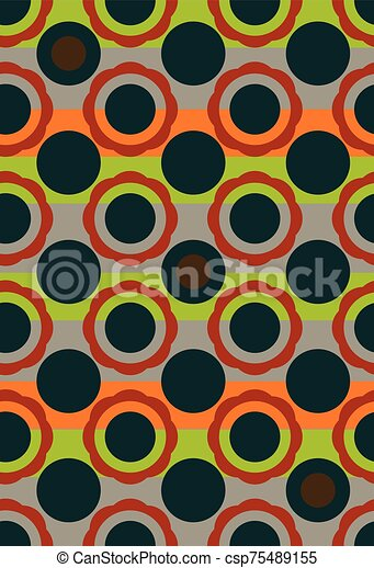 Seamless vector geometric circles pattern background in vintage colors - csp75489155