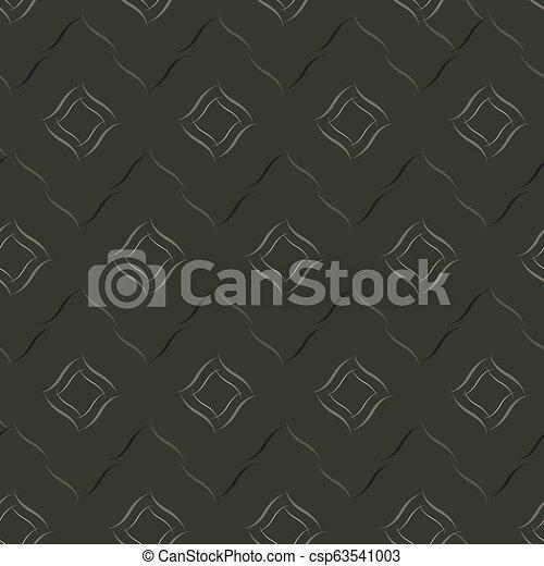 Seamless vector geometric pattern based on Arabic ornament in monochrome black colors on dark background - csp63541003