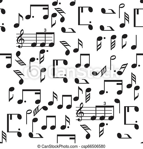 Seamless vector music notes pattern - csp66506580