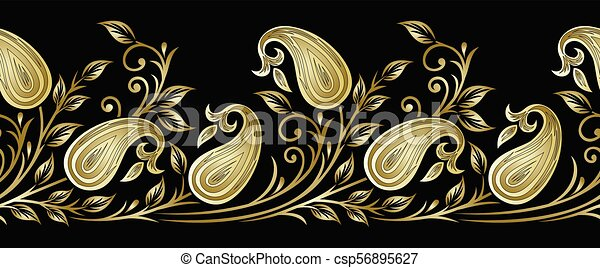 Seamless vector paisley border with leaves - csp56895627