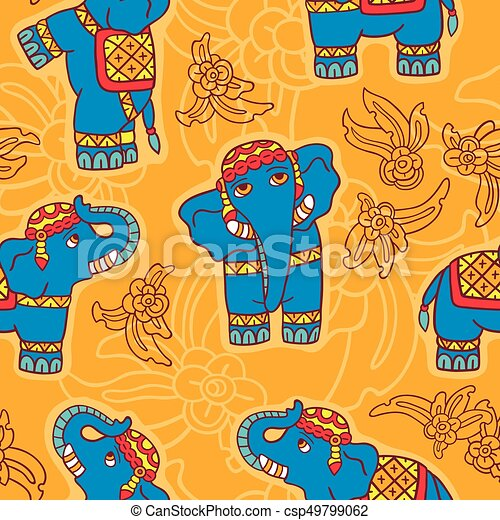 Seamless vector pattern with elephants. - csp49799062