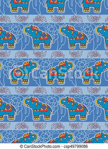 Seamless vector pattern with elephants. - csp49799086