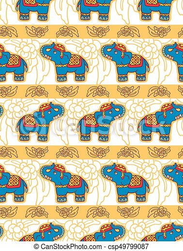 Seamless vector pattern with elephants. - csp49799087