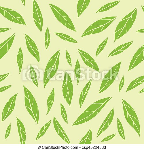 Seamless vector pattern with green tea leaves - csp45224583