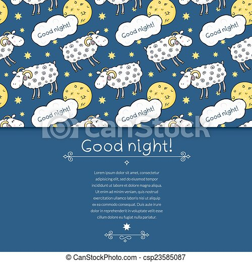 Seamless vector pattern with images cute sheep on background night sky with moon and wish good night in cartoon style - csp23585087