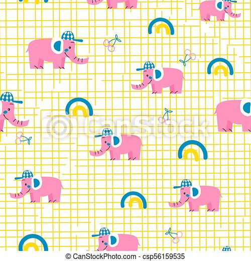 Seamless vector pattern with pink elephants. - csp56159535