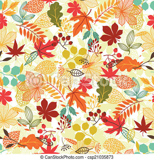 Seamless vector pattern with stylized autumn leaves. - csp21035873
