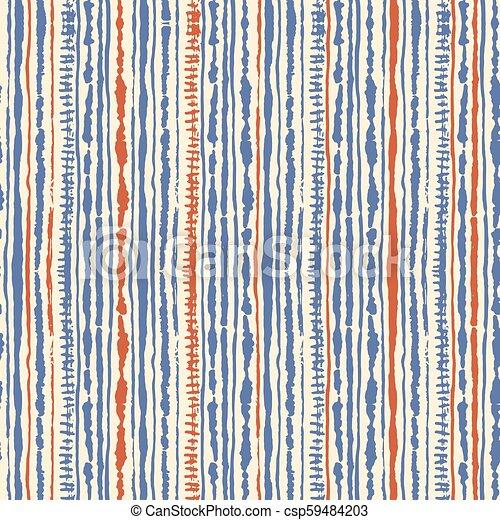 Seamless vector shibori tie-dye pattern of blue and red colours on white   Hand painting fabrics - nodular batik