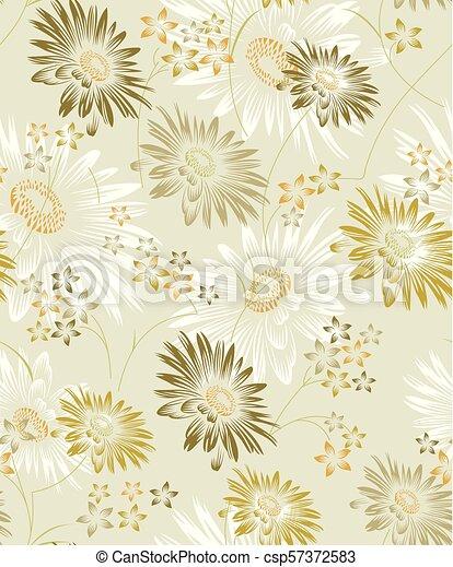 Seamless vector sunflower background - csp57372583