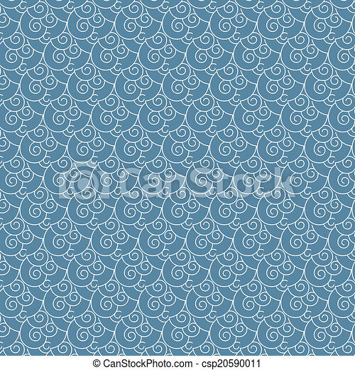 seamless vector swirl white and blue wave japanese pattern background rh canstockphoto com Blue Wave Clip Art Cartoon Waves Clip Art